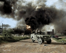 Armed troops block off a road near an explosion at an oil factory near Texas City, Texas. April 17, 1947.