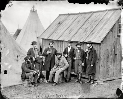 A group of commissary clerks in Aquia Creek Landing, Virginia. February 1863. (Original image from Shorpy.com