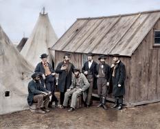 A group of commissary clerks in Aquia Creek Landing, Virginia. February 1863.