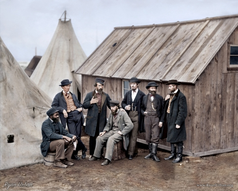A group of commissary clerks in Aquia Creek Landing, Virginia. February 1863.