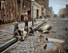 Kids Play Near a Dead Horse NYC, 1900s