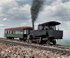 Cog Train Railway. Pike's Peak, Colorado circa 1900